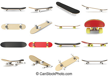3d rendering collection, group, set of skateboards isolated on white bakcgorund. Photorealistic skateboard template