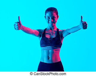 woman fitness exercices isolated Thumbs Up