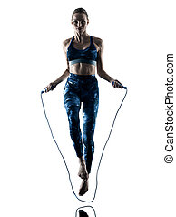 woman fitness Jumping Rope excercises silhouette