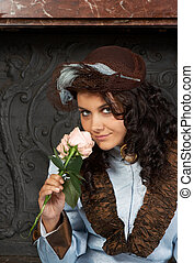 Victorian roses - Portrait of a beautiful young victorian...