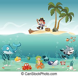 Tropical island with cartoon pirate boy