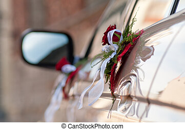 Bouquets on cars doors