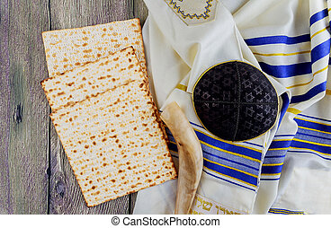 Jewish holiday Still-life with wine and matzoh passover...