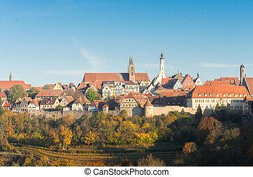 Rothenburg ob der Tauber, Germany - panoramic view of...