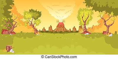 Forest with volcano, grass and trees.