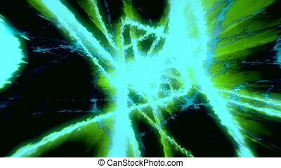 Blue green abstract energy spirals looping background -...