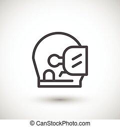 Astronaut helmet line icon