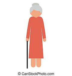 silhouette elderly woman with a cane without face vector...