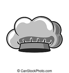 gray scale silhouette with chefs hat vector illustration