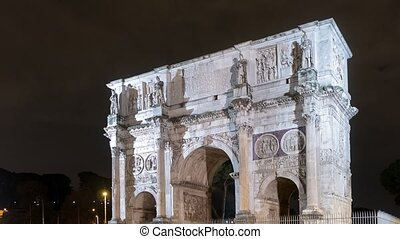 Arch of Constantine at night. Zoom. Rome. Italy. TimeLapse