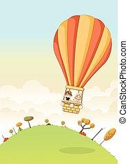 Cartoon kids inside a hot air balloon