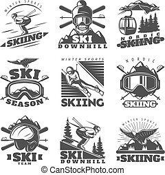 Downhill Skiing Labels Set - Nine isolated monochrome nordic...