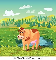 Grazing Cow Cartoon Composition