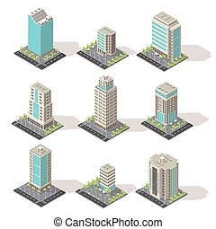 Isometric Office Buildings Set - Set of isolated isometric...