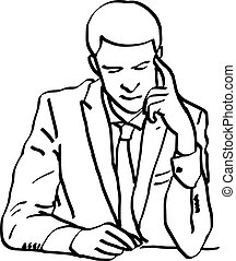 illustration vector doodles hand drawn young businessman...