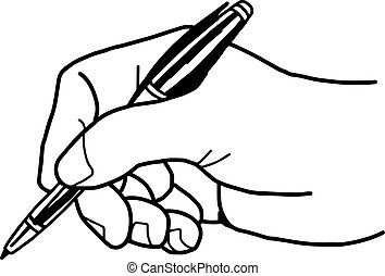 Vector illustration of a hand is writing with ballpoint pen.