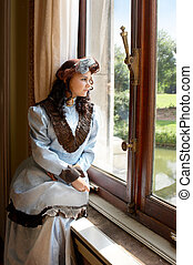 Lady in the castle - Vintage portrait of a victorian lady...
