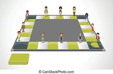 cartoon people over path. - Board game with cartoon people...