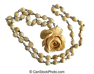 Vintage Elephant Ivory Necklace and Exquisite Carved Rose...