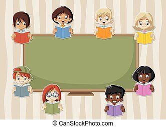 Card with cartoon student children reading books