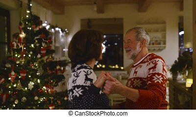 Senior couple dancing at Christmas tree in the evening -...