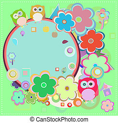 Background with owl and flowers. invitation card