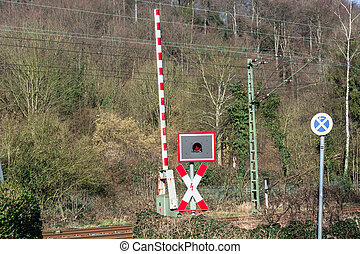 Railway barriers at the level crossing - Open railway...