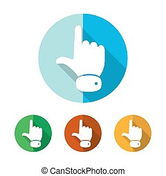 Hand cursor icon. Vector illustration. - Set of colored hand...