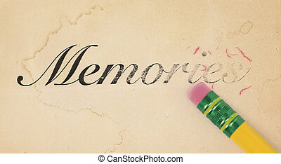 Erasing Memories - Close up of a yellow pencil erasing the...