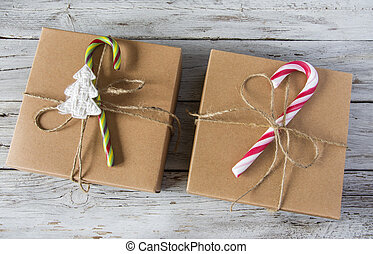 Two Christmas gifs - Two Christmas presents with candy cane...
