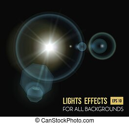 Round and hexadecimal sun light effect with lens, eps 10