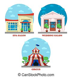 Circus and spa salon, wedding building exterior view....