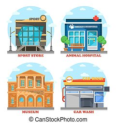 Car wash and veterinary shop, sportswear store and museum...