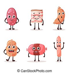 Food meat characters with cartoon faces. eps 10