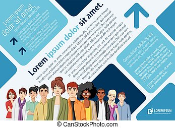 cartoon young people. - Template for advertising brochure...