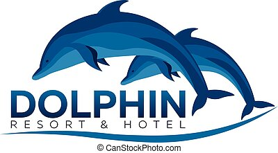 Dolphinarium. Dolphin logo. Resort and Hotel. Vector flat...