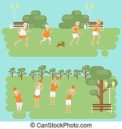 Banners Elderly people doing exercises. Healthy lifestyle,...