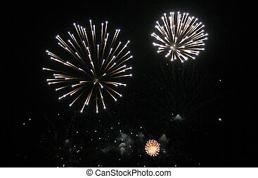 Fireworks light up the sky with dazzling display New years...