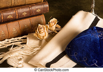 Prayer shawl and books - Jewish prayer shawl, hat and...