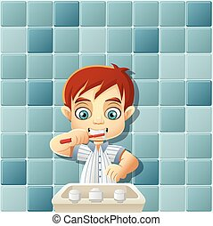 cartoon boy in pajamas brushing teeth. - Cute happy cartoon...