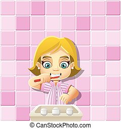 cartoon girl in pajamas brushing teeth. - Cute happy cartoon...