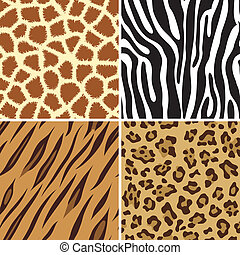Seamless animal print - Four seamless tiling animal print...