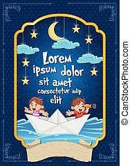 Poster with kids inside a paper boat at night. Sky with moon, stars and clouds hanging on strings