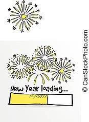 Loading bar with fireworks, new year, anniversary or party...