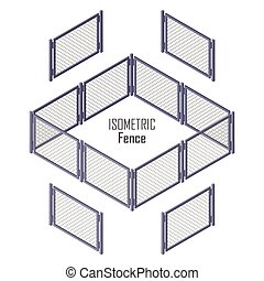 Isometric Fence in Light Colors Isolated on White.