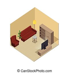 Apartment Illustration in Isometric Projection - Apartment...