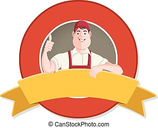 Vector banners and labels backgrounds with cartoon worker...