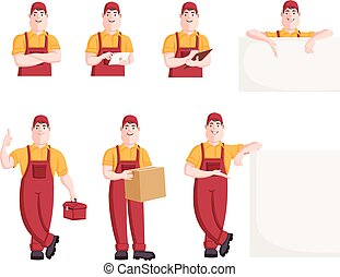 Worker character in different actions. Cartoon repairman.