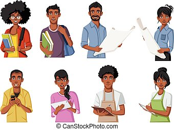 Group of cartoon black people.