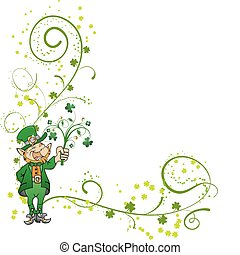 St. Patrick\'s Day corner with clover and leprechaun